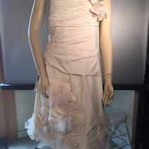 Bcbg Max Azria Off White Taffeta With Applique Ruched Dress 12 Photo