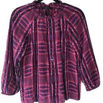 Bcbg Max Azria Plaid Sheer Magenta Long-Sleeve Silk Peasant Top Blouse Size Xs Photo