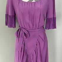 Bcbg Max Azria Purple Southwestern Western Fringe Scoop Neck Belted Dress Size 6 Photo