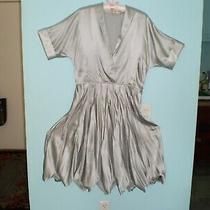 Bcbg Max Azria Runway Silver Silk Dress Size L Excellent Cond. Matching Shoes 8m Photo