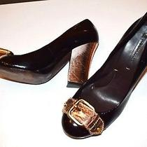 Bcbg Max Azria Shiny Black Gold All Leather Pumps High Heels Women's Size 8 B   Photo