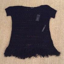 Bcbg Max Azria Short Sleeve Black Sweater Size L Retails at 140.00 Photo