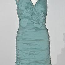 Bcbg Max Azria Size 06 Green Back Zipper Closure Ruched Bodycon v-Neck Dress Photo