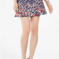 Bcbg Max Azria Skirt S Blue & Orange Patterned Intarsia Knit Mini Circle Skater Photo