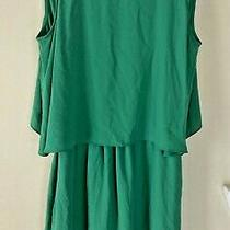 Bcbg Max Azria Small Chiffon Izabella Green Open Back Mini Sleeveless Dress Photo