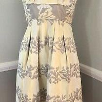 Bcbg Max Azria Strapless Mini  Dress Sz 0 Gray/yellow Byzantine Print Photo