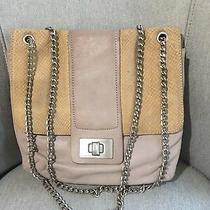 Bcbg Max Azria Taupe W/ Tan Snakeskin Leather Turn Lock Handbag Chain Straps Photo