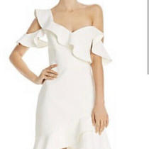 Bcbg Max Azria White Malik Asymmetrical Ruffle Dress Sz 10 Photo