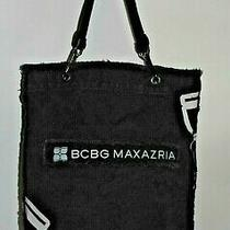 Bcbg Max Azria Women's Black Distressed Fringed Canvas Hobo Satchel Tote Bag Photo