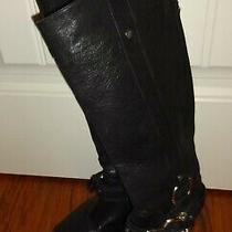 Bcbg Max Azria Women's Black Leather Boots Size 7 1/2 B (Charity) Photo
