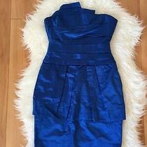 Bcbg Max Azria Women's Dress Larkspur Blue Strapless Tiered Dress Size 0 Photo