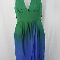 Bcbg Max Azria Women's Green Blue Ombre Halter Dress Size 0 Photo