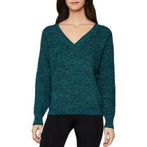 Bcbg Max Azria Women's Ribbed Knit Cotton Blend v-Neck Sweater Blue Size S Photo