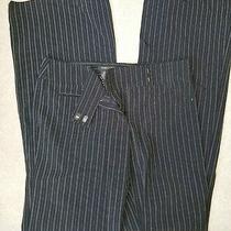 Bcbg Max Azria Women's Size 2 Black Dress Business Work Pants Pinstripe Slacks  Photo