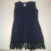 Bcbg Max Azria Women Size M Poncho Sweater Fringe Trim Black Purple Stretch Knit Photo