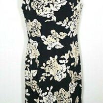 Bcbg Max Azria Women Small Sheath Dress Black Beige Floral Cutout Sleeveless Photo