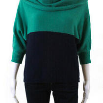 Bcbg Max Azria Womens 3/4 Sleeve Cowl Neck Colorblock Sweater Green Size Small Photo