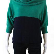 Bcbg Max Azria Womens 3/4 Sleeve Cowl Neck Colorblock Sweater Green Size Small Photo