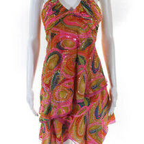 Bcbg Max Azria Womens Abstract Sequin Halter Asymmetric Dress Pink Yellow Size 6 Photo