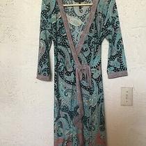 Bcbg Max Azria Womens Adele Paisley Print Wrap Tie Dress Size M Blue Photo