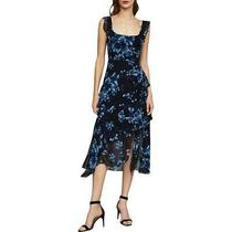 Bcbg Max Azria Womens Blue Asymmetrical Ruffled Midi Dress 0 Bhfo 4766 Photo