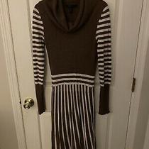 Bcbg Max Azria Womens Cowl Neck Striped Sweater Dress Brown White Size Small Photo