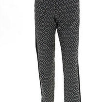 Bcbg Max Azria Womens Jacquard Print Monique Slim Leg Pants Black Ivory Size 6 Photo