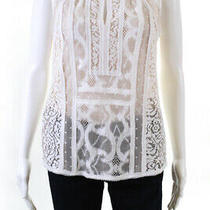 Bcbg Max Azria Womens Lace Sleeveless Crew Neck Sheer Blouse White Size Small Photo
