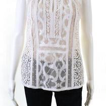 Bcbg Max Azria Womens Lace Sleeveless Crew Neck Sheer Blouse White Size Small Photo
