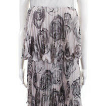 Bcbg Max Azria  Womens Pleated Dress Grey Lace Floral Print Size 8 Photo