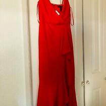 Bcbg Max Azria Womens Red Satin Faux-Wrap Hi-Low Evening Dress Gown Size 0 Photo