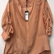 Bcbg Max Azria  Womens Silk Lotus Blouse Blush Size Medium Photo