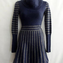 Bcbg Max Azria Wool Cashmere Sweater Dress Striped Fluted Sleeves Cowl Neck Xs Photo