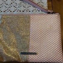 Bcbg Max Azria Wristlet Bag Wallet Purse Gold  Fuschia Pink Snake Skin Look  Photo