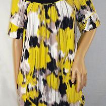 Bcbg Max Azria Yellow & Navy Blue & Cream Mini Dress  Size S Photo