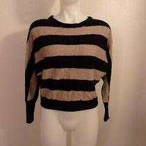 Bcbg Maxaria Black & Dark Taupe Cropped Cashmere Wool Blend Sweater Size Xs Photo