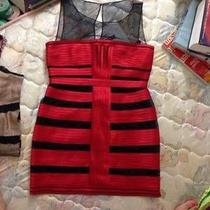 Bcbg Maxaria Black Red Dress Nwot Sz 12 Excellent Photo
