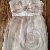 Bcbg Maxaria Sleeveless Mini 100% Cream & Blush Silk Taffeta Dress Sz 8 New Photo