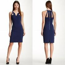 Bcbg Maxarzia  Macie Cut Out Strappy Split v-Neck Blue Dress Size 6 Euc Photo
