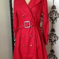 Bcbg Maxazaria Red Double Breasted Trench Coat Bow Belt Cuffs Leopard Sz 2 Ec Photo