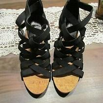 Bcbg Maxazira Womens Strappy Wedge Sandals Heels Zip Heel Size 8.5 Black Nwot Photo