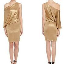 Bcbg Maxazria Abrial Gold One Sleeve Bodycon Party Dress Sz Small Photo