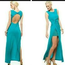 Bcbg Maxazria Ariel L 8 10 12 Draped Open Back Gown  Dress Stud Detail Slit Jade Photo