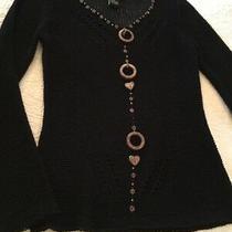 Bcbg Maxazria Black Beaded Sweater Long Sleeve Womens S Photo