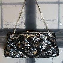 Bcbg Maxazria Black/grey/silverheavy Sequined Clutch Shoulder Evening Bag. Cute Photo
