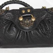 Bcbg Maxazria Black Leather Shoulder Bag Purse Photo