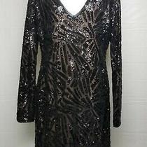 Bcbg Maxazria Black & Nude Long Sleeve Overlay Sequin Dress Size L - Retail 448 Photo