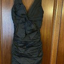 Bcbg Maxazria Black Ruched Cocktail Dress With Bow- Size 4 Photo