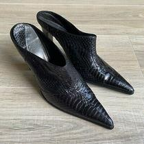 Bcbg Maxazria Black Snake Skin Slip on Heels Pointed Toe Shoes Sz 6 Mules Photo