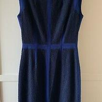 Bcbg Maxazria Blue Black Lace Shift Dress Us 6 Uk 10 Photo